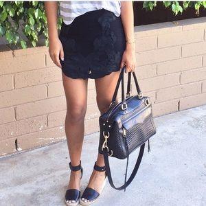 Zara faux leather & mesh net mini skirt